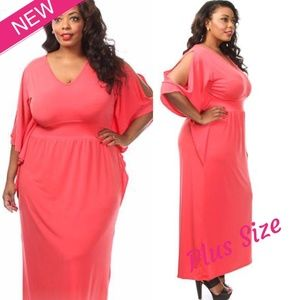 Dresses & Skirts - NEW PLUS SIZE OPEN SLEEVE SOLID MAXI DRESS